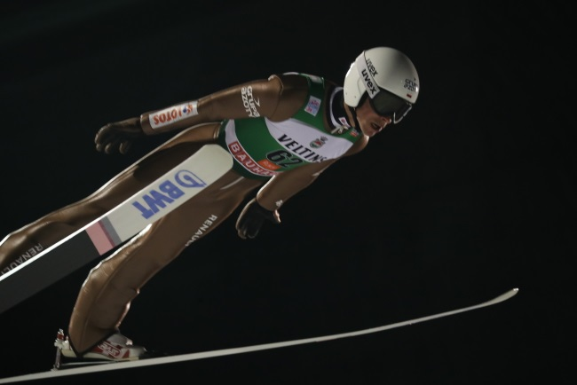 Poland's Kamil Stoch is airborne during the men's HS 142 competition at the FIS Ski Jumping World Cup in Kuusamo, Finland, on Sunday. Photo: PAP/Grzegorz Momot