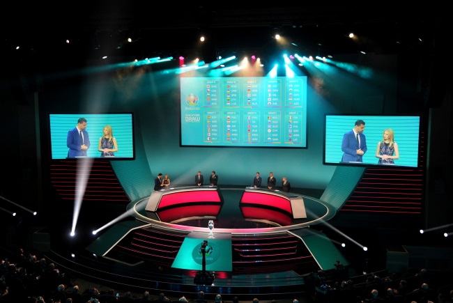 General view of the UEFA Euro 2020 Qualification Draw ceremony in Dublin, Ireland, on Sunday. Photo: EPA/AIDAN CRAWLEY