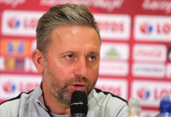 Poland manager Jerzy Brzęczek during a news conference in Chorzów on Wednesday. Photo: PAP/Andrzej Grygiel