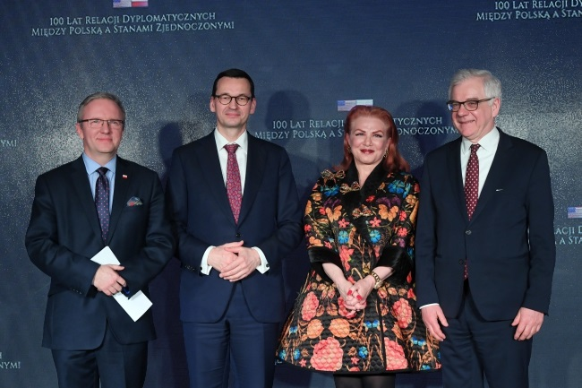 From left: Senior Polish presidential aide Krzysztof Szczerski, Prime Minister Mateusz Morawiecki, US Ambassador Georgette Mosbacher, and Polish Foreign Minister Jacek Czaputowicz during the anniversary event in Warsaw on Wednesday. Photo: PAP/Radek Pietruszka