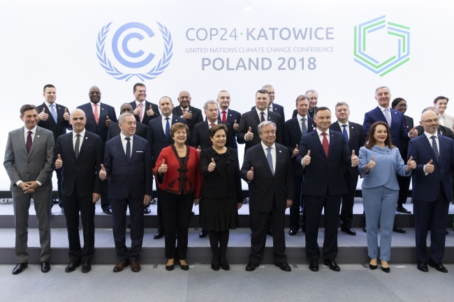 International decision makers at the start of the COP24 United Nations Climate Change Conference in Katowice on Monday. EPA/PETER KLAUNZER