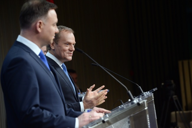 Andrzej Duda and Donald Tusk at a press conference in Brussels. Photo: PAP/Jacek Turczyk