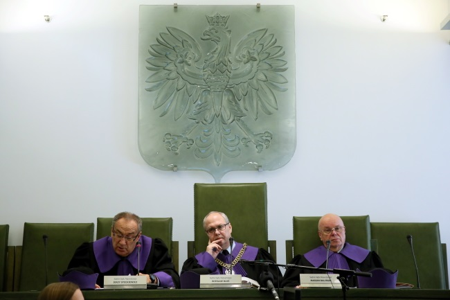 Supreme Court judges during Wednesday's case. Photo: PAP/Tomasz Gzell