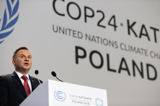 President Andrzej Duda speaks at the opening of the United Nations' COP24 climate conference in Katowice, southern Poland, on Monday. Photo: PAP/Andrzej Grygiel