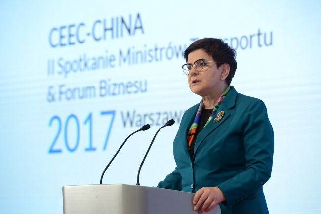 Polish PM Beata Szydło speaks at a meeting of transport ministers from the Central and Eastern European Countries (CEEC) group and China in Warsaw on Wednesday. Photo: PAP/Jacek Turczyk