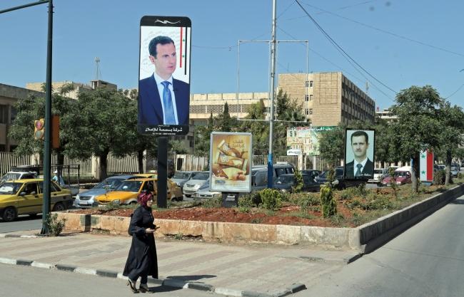 Портрет сирійського президента Башара Асада, провінція Алеппо на півночі Сирії, 18 квітня 2018 року