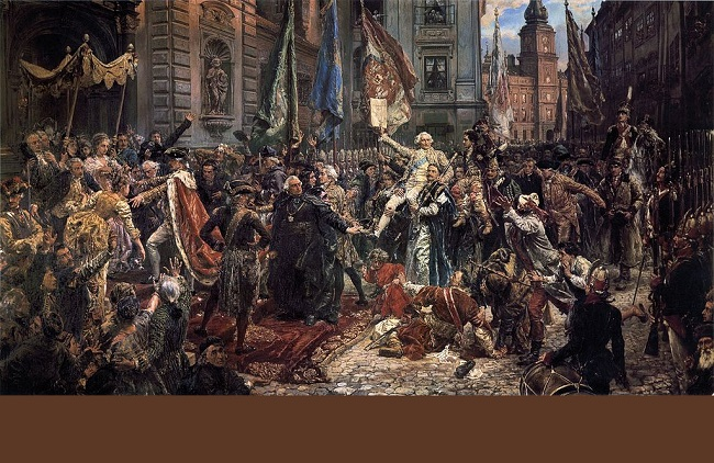 Adoption of the Polish constitution of May 3, 1791 as depicted in an 1891 painting by Jan Matejko. Image: [Public domain], via Wikimedia Commons