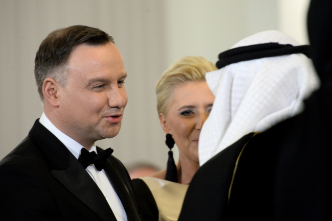 Polish President Andrzej Duda and First Lady Agata Kornhauser-Duda during a New Year's meeting with foreign diplomats in Warsaw on Thursday. Photo: PAP/Jacek Turczyk