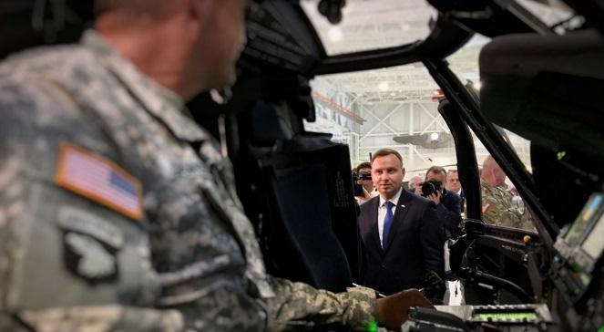 Президент Анджей Дуда на военной базе в Канкаки, США.