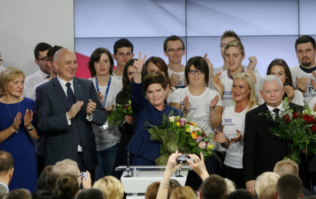 The PiS candidate for PM, Beata Szydło, waves to her supporters on Sunday. Photo: PAP/Paweł Supernak