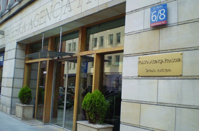 The Warsaw headquarters of Poland's PAP news agency. Photo: Marek Mazurkiewicz [GFDL (http://www.gnu.org/copyleft/fdl.html) or CC BY-SA 3.0 (https://creativecommons.org/licenses/by-sa/3.0)], via Wikimedia Commons