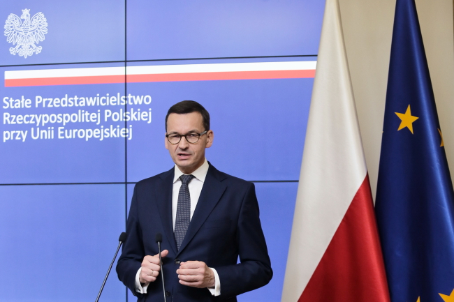 Polish Prime Minister Mateusz Morawiecki at a press conference after the summit in Brussels.