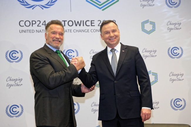 Polish President Andrzej Duda (right) and former California Governor Arnold Schwarzenegger (left) meet in Katowice, southern Poland, on Tuesday. Photo: PAP/Andrzej Grygiel