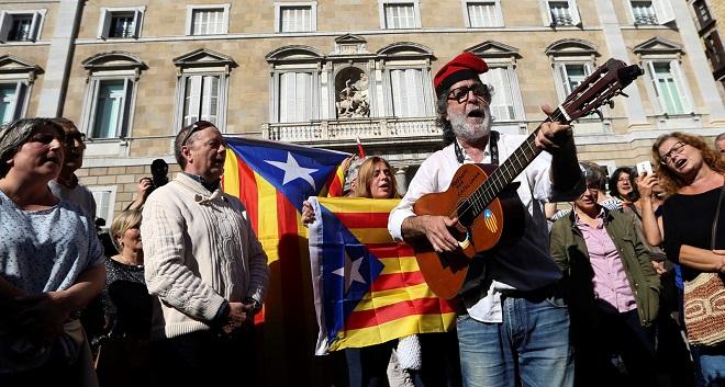 Katalońscy zwolennicy niepodległości.